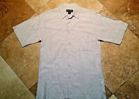 Donald J Trump Signature Button Front Short Sleeve Check Shirt 100% Linen Tan S