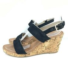 Boden Wedged Shoes Size UK6 EU39 8cm Lift Black Brown Strappy Womens 251442