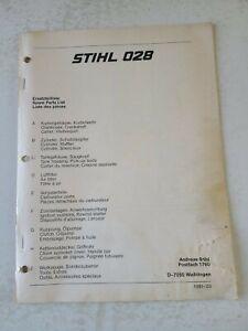 Stihl 028 Chainsaw Illustrated Spare Parts List Original  3 Languages 1981