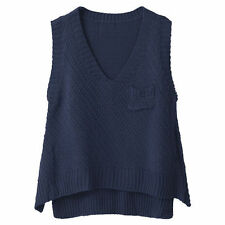Women's Polyester Solid Vest, Sleeveless Jumpers & Cardigans