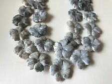"Sesame Jasper 28 mm-30 mm carved flower beads, center drilled 15""/ 13 pieces"