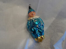"Vintage Blue Mercury Glass Clown Ornament 5"" Tall Antique"