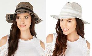 INC International Concepts Women's Adjustable LUREX Tweed Panama Hat