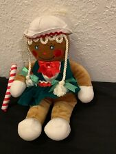 "EXC. 13"" GINGERBREAD MAN GIRL 1990 TARGET CANDY CANE RIBBON STUFFED PLUSH TOYS"
