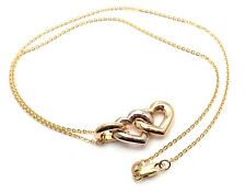 Authentic! Cartier 18K Yellow & White Gold Double Heart Pendant Chain Necklace