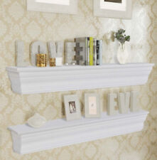 Shabby Chic Wooden Shelves Wall Mounted Unit Set Vintage Style Home Decor White