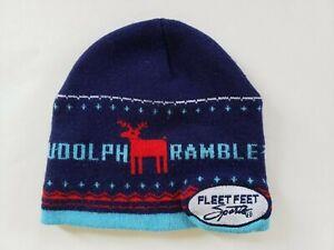 Fleet Feet Sports Rudolph Ramble blue beanie winter hat
