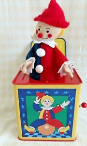 Vintage Metal Colorful Clown Jack in the Box with Crank Handle