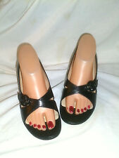Michel perry black  leather open toe high heel shoes sz 39
