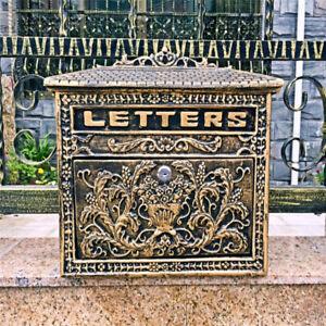 European Retro Wall Mount Locking Mailbox Cast Iron Aluminum Vintage Letter Box