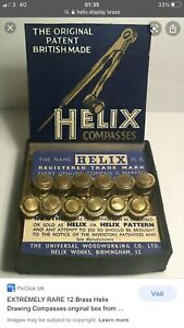 HELIX Vintage Display - X12 Old School Brass Drawing Compass Draughtsman - Rare