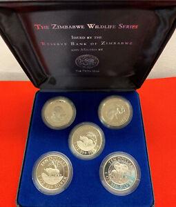 Zimbabwe 1996 Wildlife Series Proof Coin Set of 5 Coins Ten Dollars .999 5 OZ