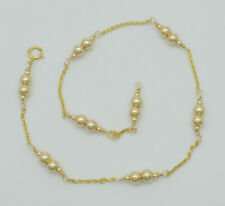 Gold Beaded Anklet bracelet 9- 10'' New Exquisite 14K Solid Gold 4mm
