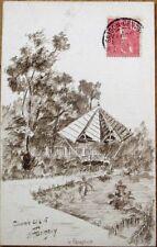 Hand-Drawn/Artist-Signed 1906 Original Art Postcard: Saigon, Vietnam/Indochina