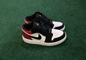 "Nike Air Jordan 1 Low ALT ""Black Toe"" White Gym Red BQ6066 116 H5 Size 1.5Y"