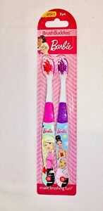 Barbie Toothbrush 2 Pack Set Pink and Purple Soft Bristles Brush Buddies
