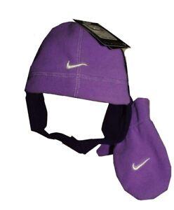 Girls Boys Toddler NIKE Winter Fleece Stocking Cap HAT Mittens Purple Blue NEW