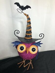 Large Metal Owl With Witch Hat And Bat Rare SUPER CUTE