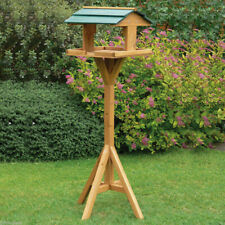 Garden Wooden Table Traditional Birds House Free Standing Bird Feeding Feeder