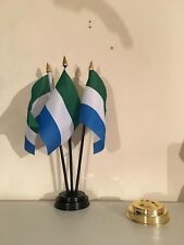 SIERRA LEONE TABLE FLAG SET of 3 flags and base