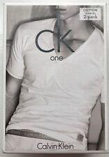 Calvin Klein One Men's Cotton Stretch V-Neck - Small - Blue - U8511A-8SB