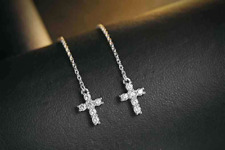 Cross style threader sterling silver 925 with cubic zirconia long earring cross