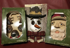 Kirkland's Outdoor Santa Reindeer and Snowman Tree Faces Vintage New Old Stock