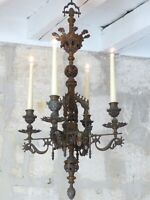 RARE Antique French Bronze Gothic Chimera Chandelier 4 Lights Renaissance - 19TH