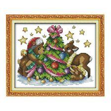 JOY SUNDAY TEDDY READY FOR CHRISTMAS cross stitch Kit 14ct Size 25 x 19 cm BNIP