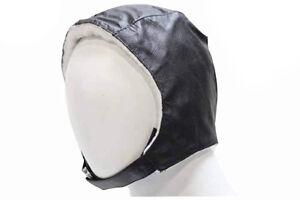 Men Leather Aviator Cap, Black - Bomber Cap Winter Ski Hat Cotton Lining Biker