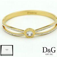 """DG Women's 6.5"""" Gold Stainless Steel CZ Eternity 10mm Bangle Bracelet*Box"""