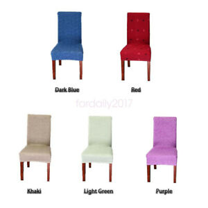 Textured Stretch Seat Dustproof Protector Slipcover 4pcs Dining Chair Cover