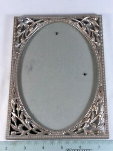 """PICTURE FRAME- OLD, METAL WITH FLOWERS, 7 1/2"""" x 5"""" - OVAL OPENING FOR PICTURE ("""