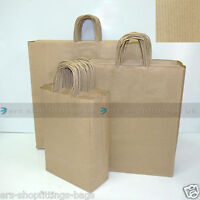 25x PAPER CARRIER BAGS TWISTED HANDLE HIGH QUALITY GIFT BOUTIQUE BAG BROWN