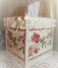 Burgundy Red & Pink ROSES Square TISSUE BOX COVER with Ribbon & Lace