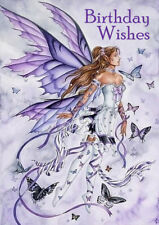 HAPPY BIRTHDAY GREETINGS CARD BEAUTIFUL FAIRY ANGEL LADY AND BUTTERFLIES
