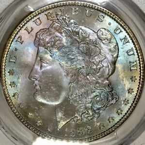 1888-P Morgan Dollar PCGS MS65 CAC Watercolor EOR End Of Roll Rainbow Toned