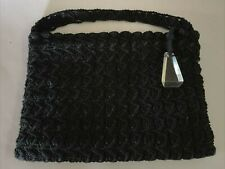 Vintage 1940's Black Crochet Clutch Purse ~ Handbag With Clear Lucite Pull