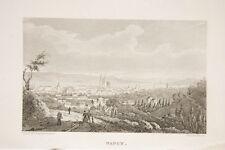 NANCY vue générale,Meurthe et Moselle, Lorraine, gravure avers 1840/45