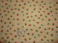 "Vintage Cotton Fabric SMALL ORANGE, WHITE, YELLOW FLORAL ON BROWN 34""/44"" Wide"