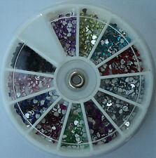 Ruota brillantini CUORI 12 colori decorazione Nail Art