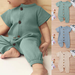 Newborn Baby Girls Boy Floral Romper Bodysuit Jumpsuit Summer Outfits Clothes UK