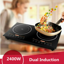Portable Digital Electric Induction Cooktop Countertop Burner Cooker 1200W+1200W
