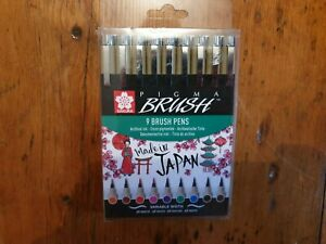 SAKURA PIGMA MICRON 9 Assorted BRUSH TIP ARCHIVAL INK DRAWING MARKERS NEW!