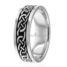 18K Solid Gold Celtic Irish Band Ring Celtic Knot Mens Women Wedding Bands Rings