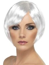Womens Short White Bob Wig Sexy Short Hair with Bangs Halloween Costume Adult