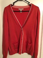 Women's Banana Republic Pink Cardigan Sweater V-Neck Size L