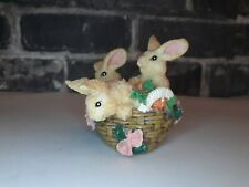 """🌟 3"""" Bunny Rabbits In Basket Of Carrots And Flowers Figurine"""