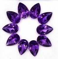NATURAL AMETHYST 8X6 MM PEAR CUT CALIBRATED PURPLE FACETED LOOSE GEMSTONE LOT