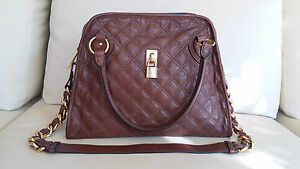 Marc Jacobs Quilted Brown Leather Handbag Shoulder Bag Made in Italy